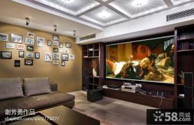 现代中式客厅影视墙装修效果图