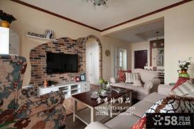田园风格客厅装修墙砖电视背景墙效果图