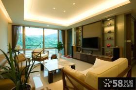 现代美式风格客厅电视背景墙装修图
