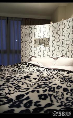 现代简约风格卧室床头壁纸背景墙设计图