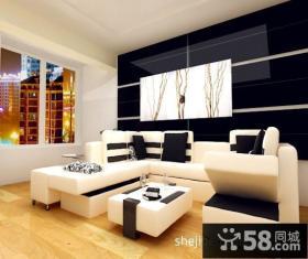 现代客厅沙发背景墙装修效果图片