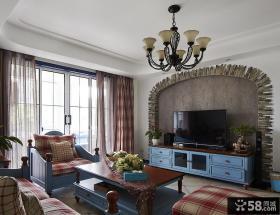 地中海风格深色客厅电视背景墙装修效果图