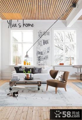 90平小户型舒适的瑞典北欧风情客厅装修效果图大全2014图片