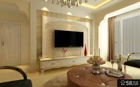 欧式简约客厅电视背景墙装修效果图