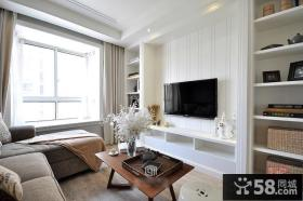 时尚美式风格一室一厅装修客厅电视背景墙效果图片