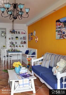 地中海小客厅餐厅一体设计