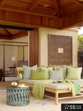 东南亚家居阳台沙发床效果图