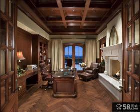 美式风格豪华书房装修设计图片