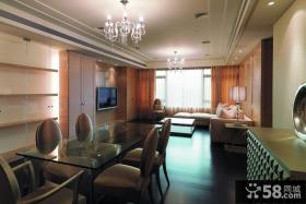 简单现代风格餐厅客厅一体设计