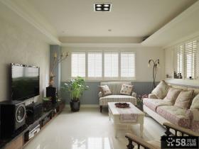 美式田园风格二居室电视背景墙效果图片