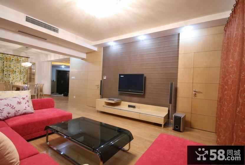 客厅隐形门电视背景墙效果图