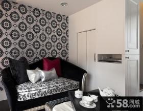 现代简约单身公寓客厅壁纸背景墙效果图