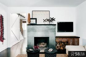 地中海小复式客厅液晶电视墙装修图片
