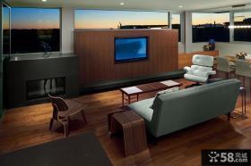 复式客厅电视背景墙设计图片