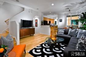 简约复式楼客厅背景墙装修效果图