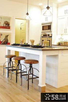 欧式田园风格厨房吧台装修图片