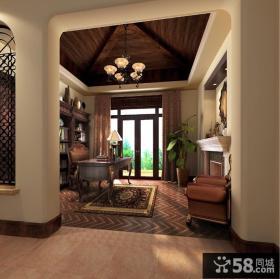 阳明谷美式风格别墅书房样板间