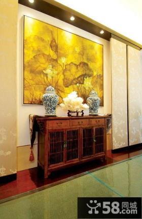 中式古典风格玄关家居装饰效果图