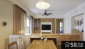原木小清新餐厅客厅隔断设计