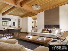 别墅客厅生态木吊顶效果图片