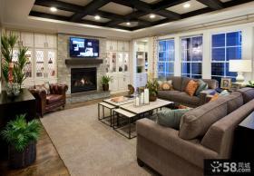 现代客厅集成吊顶效果图