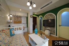 地中海风格客厅电视背景墙设计装修图片