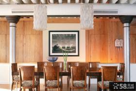 美式别墅餐厅装饰画效果图