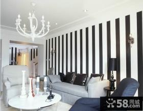 客厅沙发条纹壁纸背景墙效果图