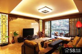 中式设计装修客厅电视背景墙图片