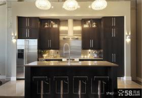 黑色格调时尚现代复式厨房装修效果图