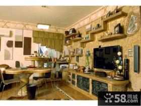 小户型优质东南亚风格客厅电视背景墙装修效果图欣赏