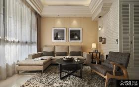 美式别墅简约客厅效果图