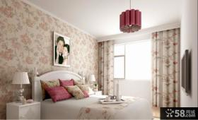 田园卧室壁纸背景墙装修