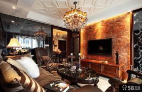 豪华新古典风格客厅电视背景墙效果图