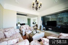 田园客厅沙发 黑色花纹电视背景墙装修效果图