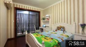美式风格儿童房条纹壁纸效果图