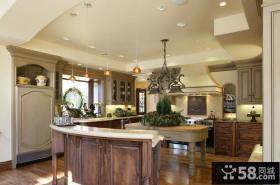 美式独立别墅开放式厨房装修效果图大全2012图片