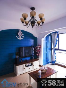 地中海风格小户型电视背景墙装修效果图片