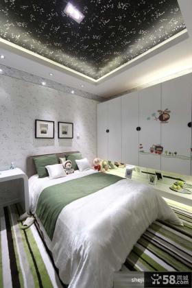 2013现代风格时尚儿童房卧室白色壁纸装修效果图