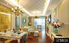 简欧风格室内客厅餐厅吊顶设计
