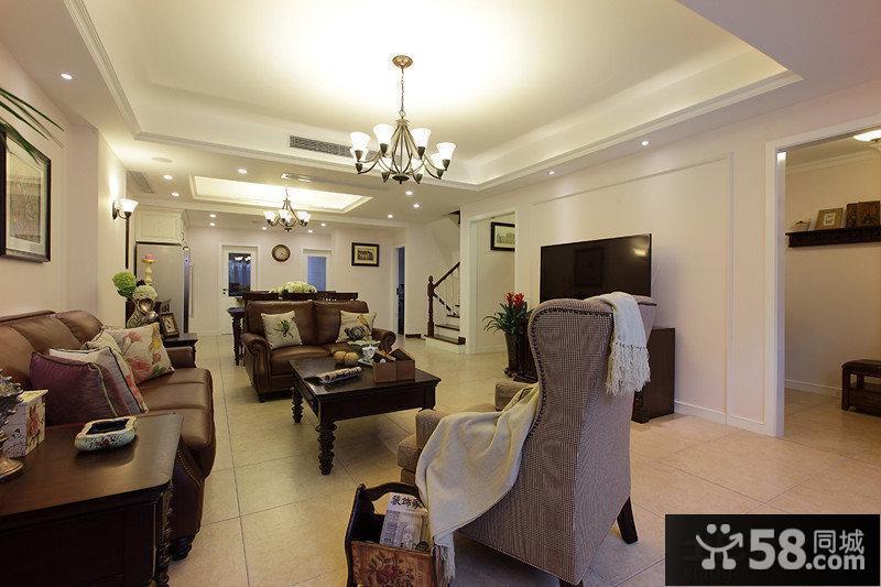 美式简装复式楼客厅装修效果图大全图片