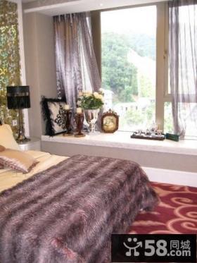 欧式简约卧室装修效果图 卧室飘窗装修设计图片