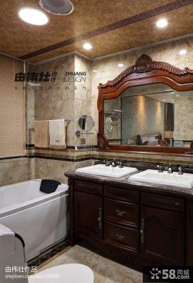 中式复式楼卫生间浴室柜子效果图