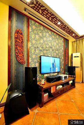 中式复式楼电视背景墙装修效果图大全