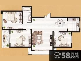 复式两居室户型图