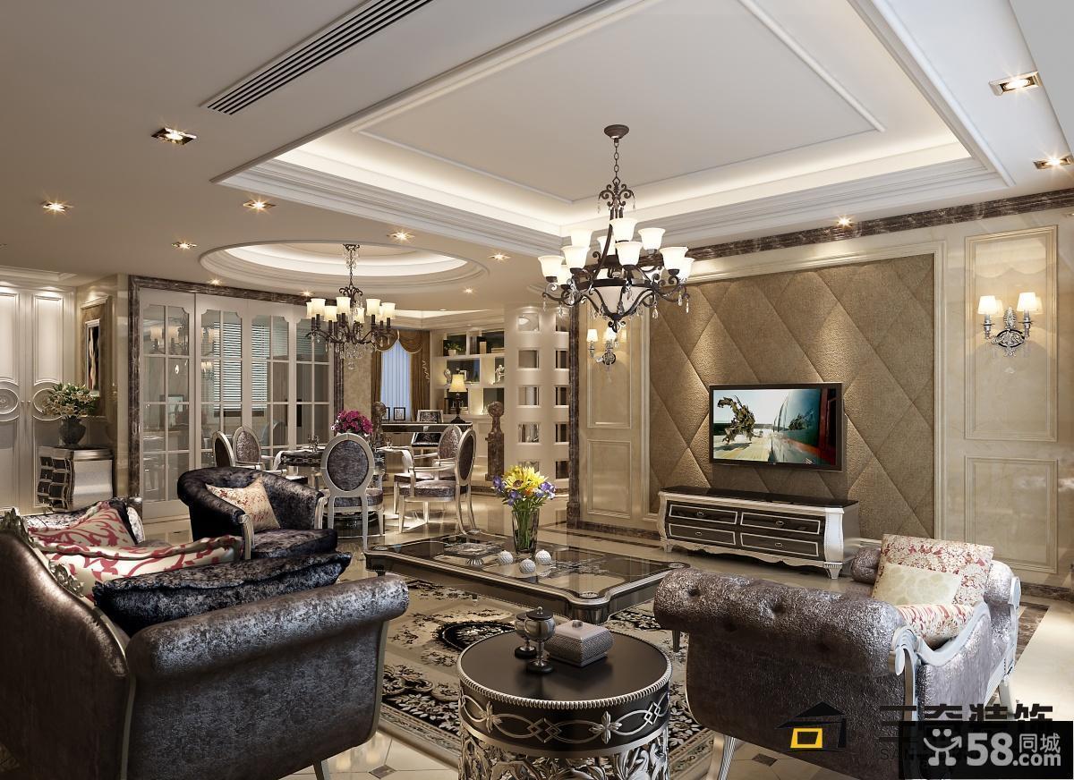 现代客厅电视背景墙豪华装修效果图