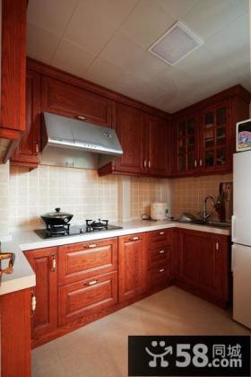 高档美式红桃木橱柜厨房装修设计