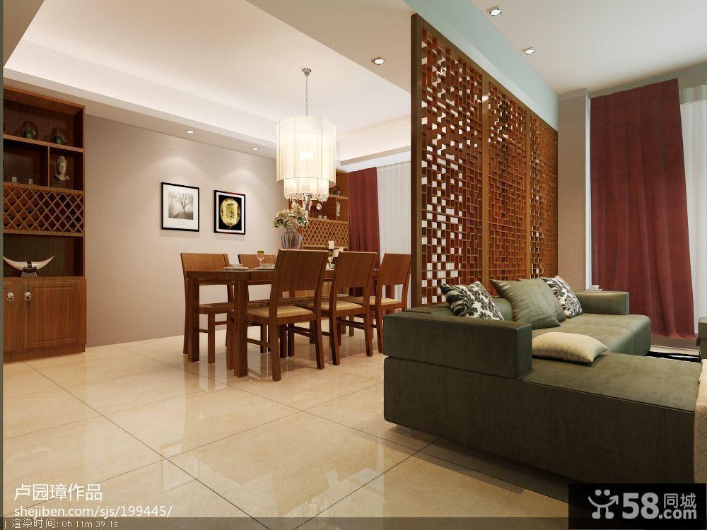 中式客厅与餐厅隔断装修效果图