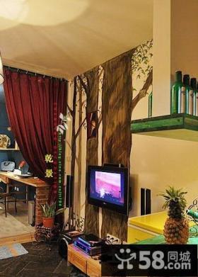 20平米小户型装修图东南亚风客厅电视背景墙