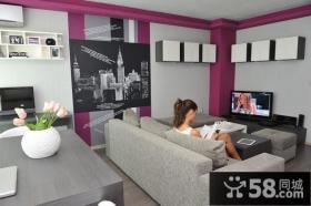 90平米小公寓客厅背景墙装修效果图
